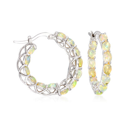 Ethiopian Opal Hoop Earrings in Sterling Silver