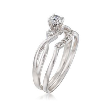 .34 ct. t.w. Diamond Bridal Set: Engagement and Wedding Rings in 14kt White Gold