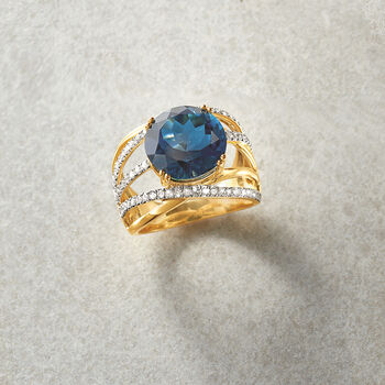 7.00 Carat London Blue Topaz and .59 ct. t.w. Diamond Ring in 14kt Yellow Gold, , default