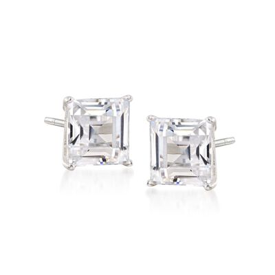 4.00 ct. t.w. Emerald-Cut CZ Stud Earrings in Sterling Silver, , default