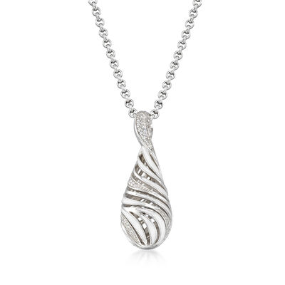 "Belle Etoile ""Waverly"" White Enamel and .30 ct. t.w. CZ Pendant in Sterling Silver, , default"