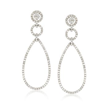 2.35 ct. t.w. Diamond Open Teardrop Earrings in 18kt White Gold, , default