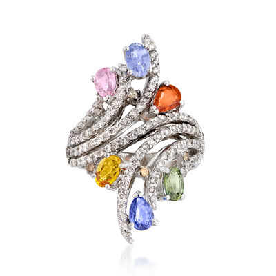 C. 1990 Vintage 3.30 ct. t.w. Multicolored Sapphire and 1.60 ct. t.w. Diamond Cocktail Ring in 14kt White Gold, , default