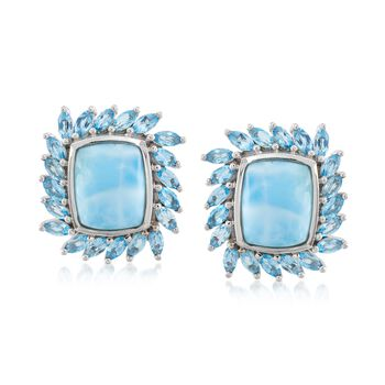 Larimar and 3.20 ct. t.w. Blue Topaz Earrings in Sterling Silver, , default