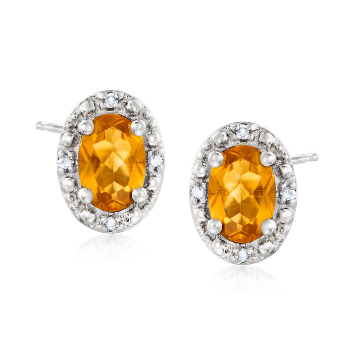 .90 ct. t.w. Citrine Stud Earrings with Diamond Accents in Sterling Silver