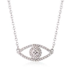 ".14 ct. t.w. Diamond Evil Eye Necklace in 14kt White Gold. 16"", , default"