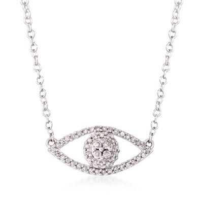 .14 ct. t.w. Diamond Evil Eye Necklace in 14kt White Gold, , default