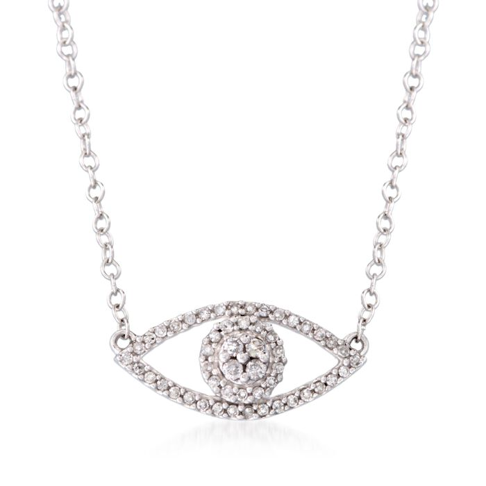 """.14 ct. t.w. Diamond Evil Eye Necklace in 14kt White Gold. 16"""", , default"""
