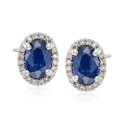 1.10 ct. t.w. Sapphire and .10 ct. t.w. Diamond Stud Earrings in 14kt White Gold, , default