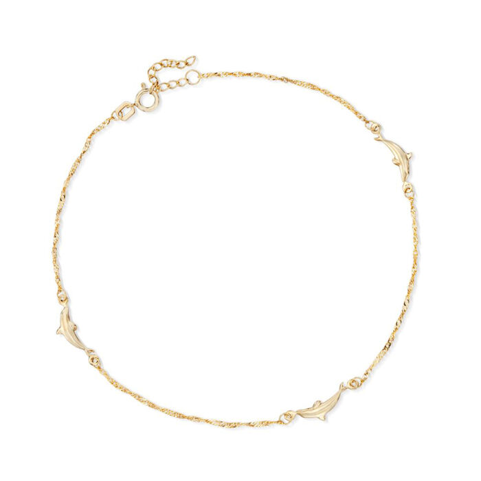 14kt Yellow Gold Dolphin Anklet. 10""