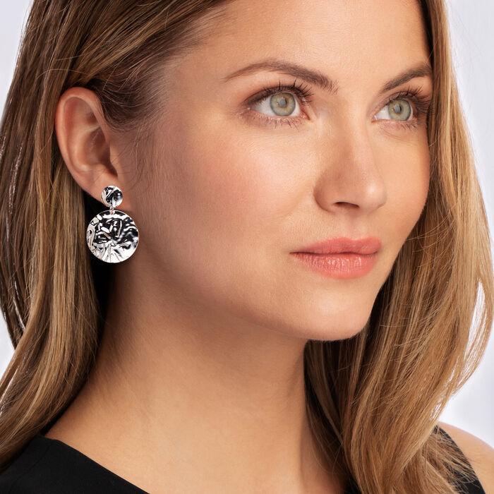 Italian Sterling Silver Crinkle Drop Earrings