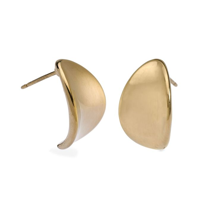 14kt Yellow Gold Curved Teardrop Button Earrings, , default
