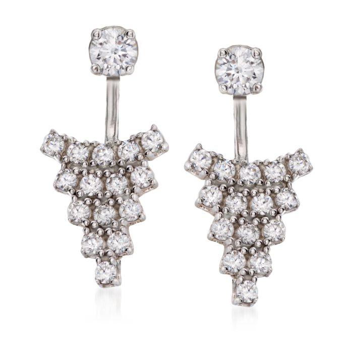 .60 ct. t.w. CZ Front-Back Drop Earrings in Sterling Silver, , default