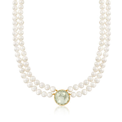 7-7.5mm Cultured Pearl and 20.00 Carat Prasiolite Double-Strand Necklace in 14kt Yellow Gold, , default