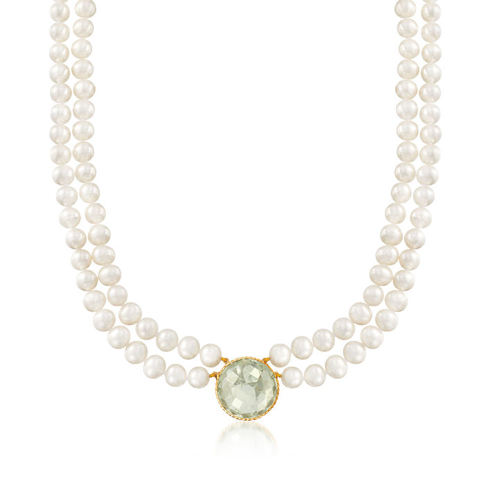 7-7.5mm Cultured Pearl and 20.00 Carat Prasiolite Double-Strand Necklace in 14kt Yellow Gold