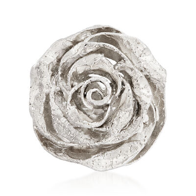 Italian Sterling Silver Rose Ring, , default
