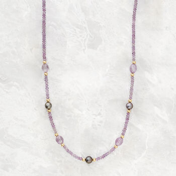 8-9mm Cultured Tahitian Pearl and 36.50 ct. t.w. Amethyst Bead Necklace with 14kt Yellow Gold, , default