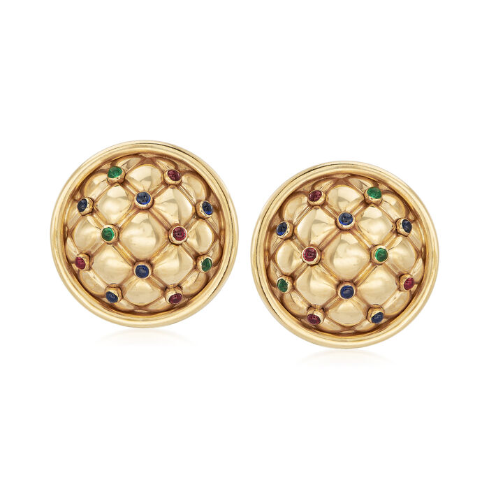 C. 1980 Vintage Chaumet .95 ct. t.w. Multi-Gemstone Clip-On Earrings in 18kt Yellow Gold, , default