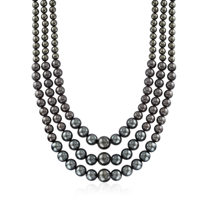 6-12mm Black Shell Pearl Three-Strand Necklace with Sterling Silver
