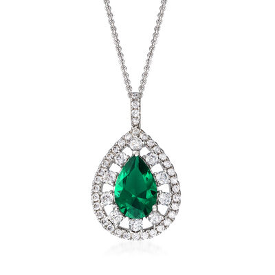 3.00 Carat Simulated Emerald and 1.09 ct. t.w. CZ Pendant Necklace in Sterling Silver, , default