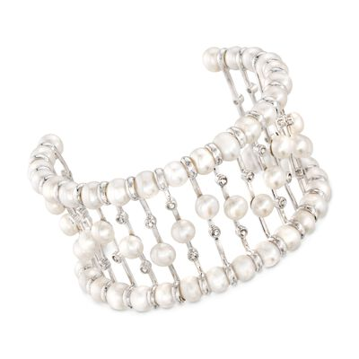 5.5-6.5mm Cultured Pearl 1.50 ct. t.w. White Topaz Bar Cuff Bracelet in Sterling Silver, , default
