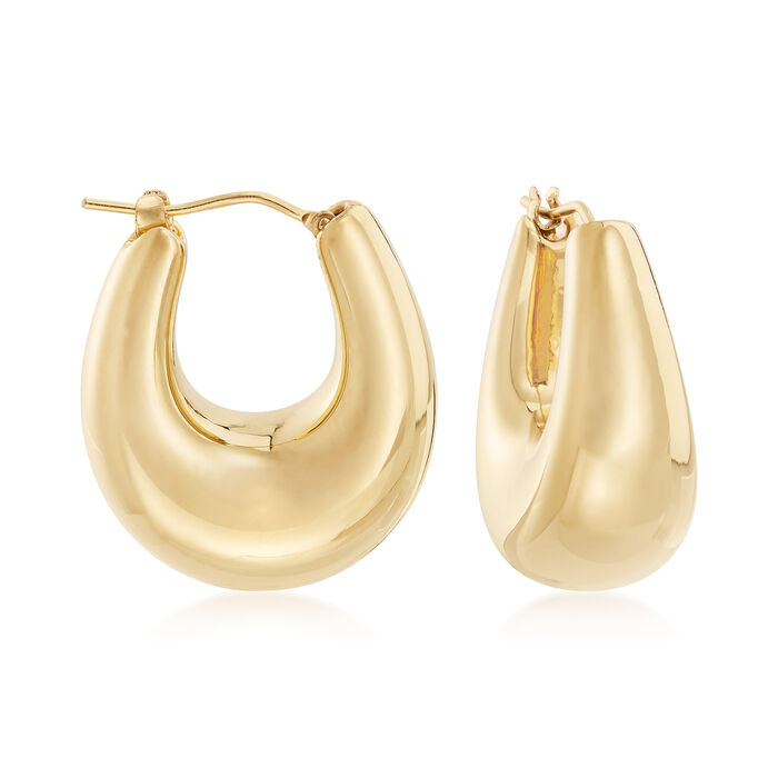 "Italian Andiamo 14kt Yellow Gold Puffed Hoop Earrings. 1"", , default"
