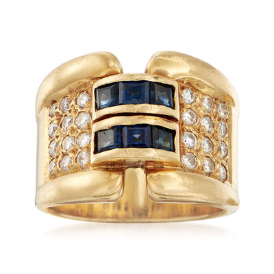 C. 1990 Vintage 1.00 ct. t.w. Sapphire and .60 ct. t.w. Diamond Ring in 18kt Yellow Gold , , default