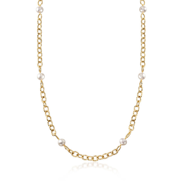 """8-8.5mm Cultured Pearl Station Necklace in 14kt Yellow Gold. 36"""", , default"""