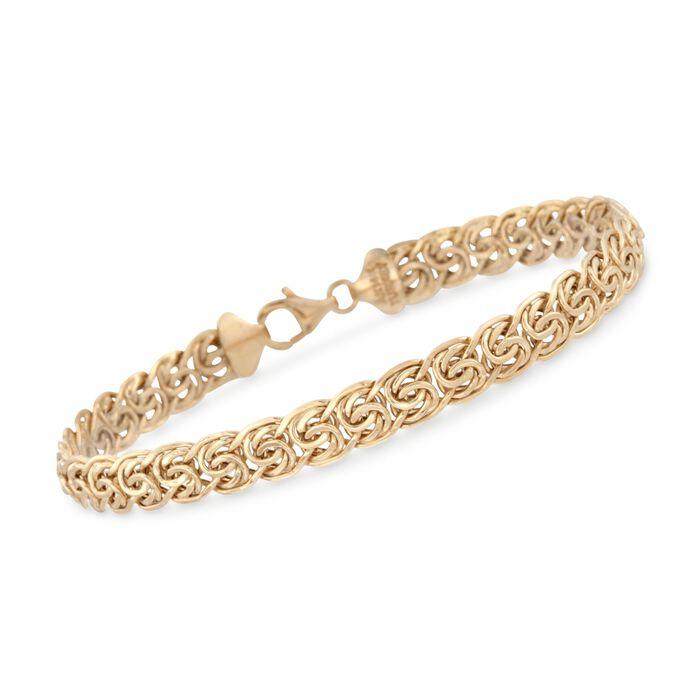 "14kt Yellow Gold Flat Byzantine Bracelet. 8"", , default"