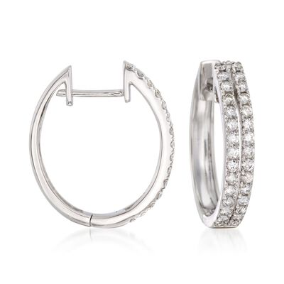 1.00 ct. t.w. Diamond Two-Row Hoop Earrings in 14kt White Gold, , default