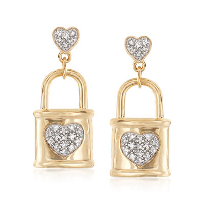 .10 ct. t.w. Diamond Heart and Lock Drop Earrings in 18kt Gold Over Sterling, , default