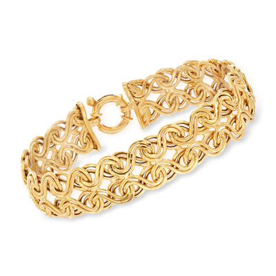 Italian 14kt Yellow Gold Interlocking Infinity-Link Bracelet, , default