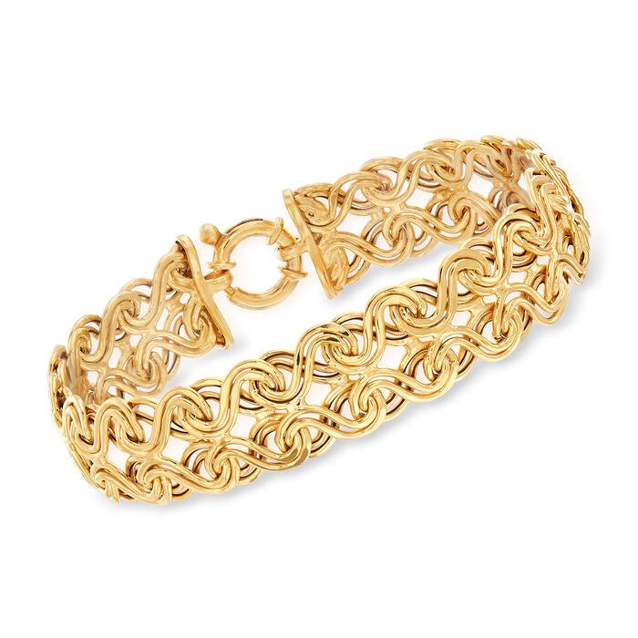 "Italian 14kt Yellow Gold Interlocking Infinity-Link Bracelet. 8"", , default"