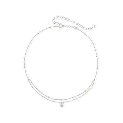 .10 Carat Bezel-Set CZ Choker Layer Necklace in Sterling Silver, , default