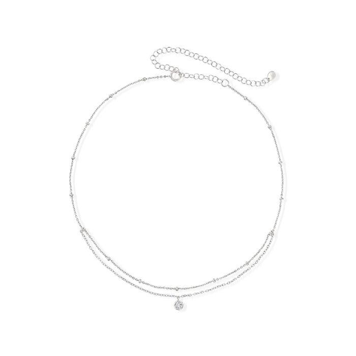 ".10 Carat Bezel-Set CZ Choker Layer Necklace in Sterling Silver. 12"", , default"