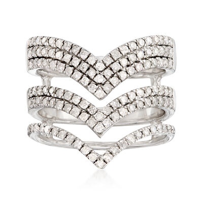 1.00 ct. t.w. Diamond Chevron Ring in Sterling Silver