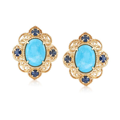 Turquoise and .30 ct. t.w. Sapphire Scrolled Earrings in 14kt Yellow Gold, , default