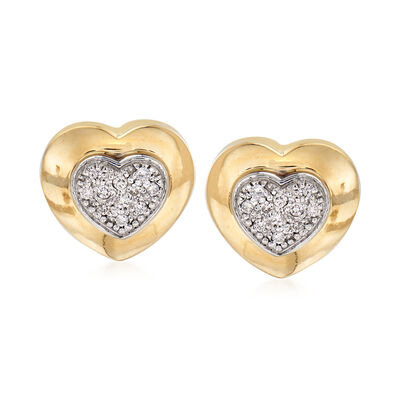 C. 1980 Vintage .35 ct. t.w. Diamond Heart Earrings in 14kt Yellow Gold