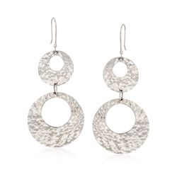 Sterling Silver Hammered Double Open Circle Drop Earrings, , default