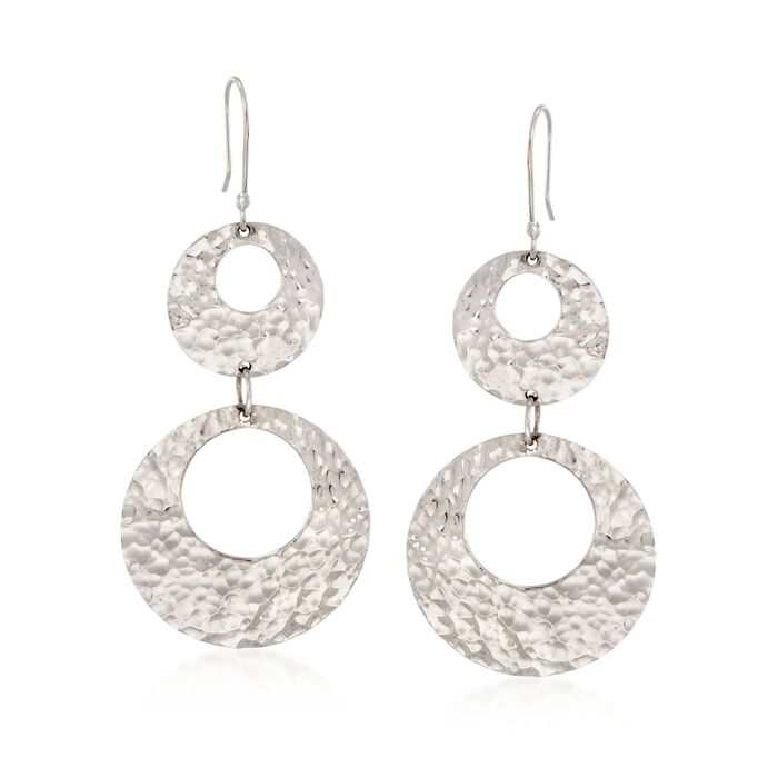 Sterling Silver Hammered Double Open Circle Drop Earrings , , default