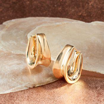 "Italian Andiamo 14kt Yellow Gold Curved Hoop Earrings. 1"", , default"