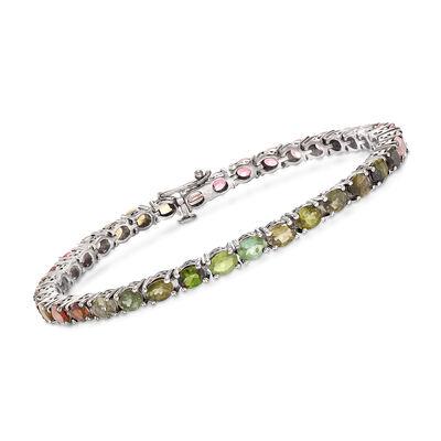 9.60 ct. t.w. Multicolored Tourmaline Tennis Bracelet in Sterling Silver, , default