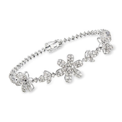 3.60 ct. t.w. Diamond Flower Bracelet in 18kt White Gold