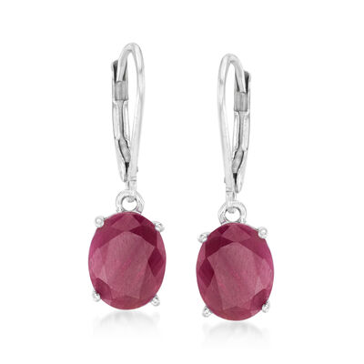 7.00 ct. t.w. Ruby Drop Earrings in Sterling Silver