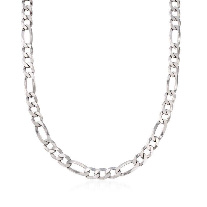 "Men's 7.8mm Sterling Silver Figaro Link Necklace. 20"", , default"