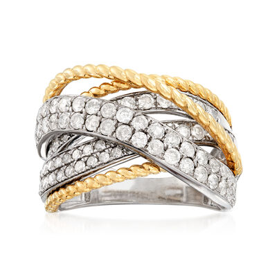 1.50 ct. t.w. Diamond Highway Ring in 14kt Two-Tone Gold
