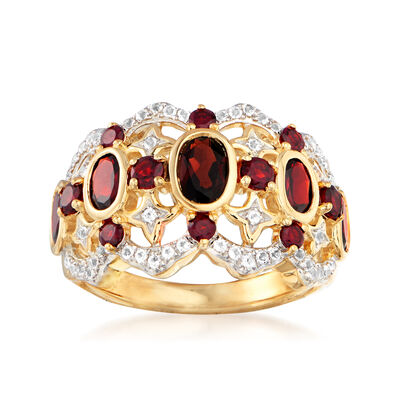 1.70 ct. t.w. Garnet and .20 ct. t.w. White Topaz Ring in 18kt Gold Over Sterling