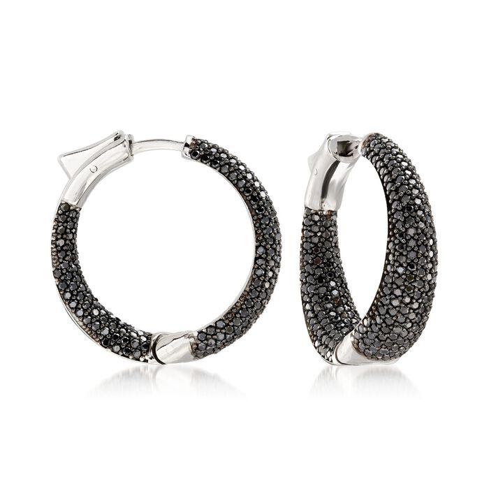 """.50 ct. t.w. Black Spinel Inside-Outside Hoop Earrings in Sterling Silver. 1"""", , default"""