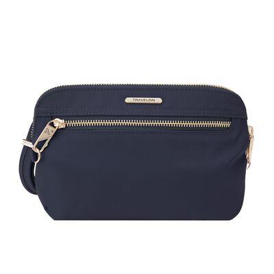 "Travelon ""Anti-Theft Tailored"" Sapphire-Blue Nylon Twill Crossbody Clutch  , , default"