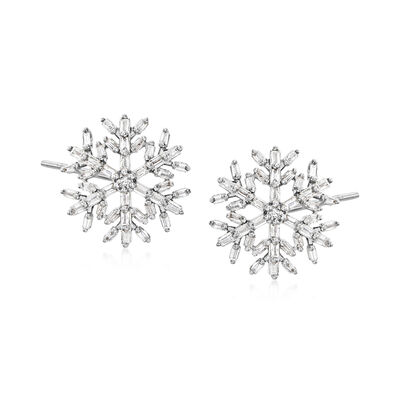 .50 ct. t.w. Diamond Snowflake Earrings in Sterling Silver